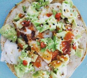 breakfast made with cauliflower tortilla